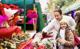 Familia de la Navidad de compra dos composición floral Fotografía de archivo