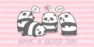 Familia de la panda en estilo de la historieta libre illustration