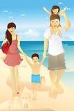 Familia de la playa Fotografía de archivo