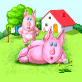 Familia de los cerdos Imagen de archivo libre de regalías