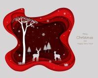 Familia de los ciervos con los copos de nieve en fondo de papel rojo del arte ilustración del vector