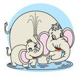 Familia de los elefantes stock de ilustración