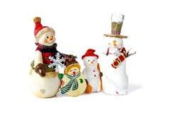 Familia de los muñecos de nieve de la Navidad Imagen de archivo libre de regalías