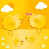 Familia de los polluelos de Pascua Fotos de archivo