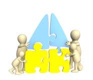 Familia de marionetas, construyendo la casa ilustración del vector