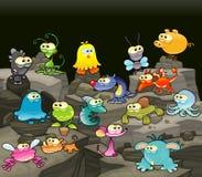 Familia de monstruos en la cueva. stock de ilustración