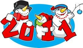 Familia de muñecos de nieve Imagen de archivo