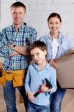 Familia de nuevos colonos Imágenes de archivo libres de regalías