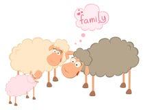 Familia de ovejas de la historieta Imágenes de archivo libres de regalías