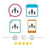 Familia de padres solteros con el icono de la muestra de dos niños ilustración del vector