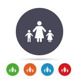 Familia de padres solteros con el icono de la muestra de dos niños libre illustration