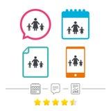 Familia de padres solteros con el icono de la muestra de dos niños stock de ilustración