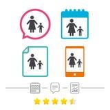 Familia de padres solteros con un icono de la muestra del niño libre illustration