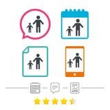 Familia de padres solteros con un icono de la muestra del niño stock de ilustración