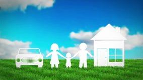 Familia de papel con la casa y coche en campo de hierba 3D rinden la animación
