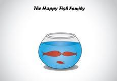 Familia de pescados feliz roja en el arte de cristal del diseño de concepto del cuenco del acuario Foto de archivo