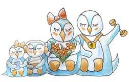 Familia de pingüinos en el fondo blanco stock de ilustración