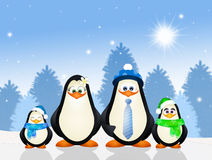 Familia de pingüinos Imagen de archivo libre de regalías