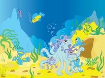 familia de pulpo subacuática Imagen de archivo libre de regalías