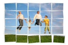 Familia de salto en la hierba, collage imagen de archivo