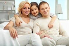 Familia de tres Imagen de archivo libre de regalías
