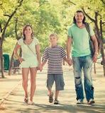 Familia de tres con el niño del adolescente Foto de archivo