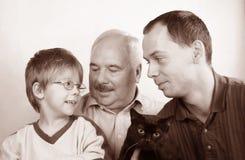 Familia de tres generaciones Imagen de archivo libre de regalías