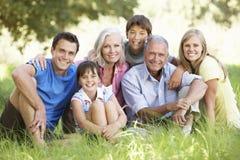 Familia de tres generaciones que se relaja en campo del verano imagenes de archivo