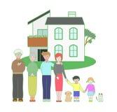 Familia de tres generaciones y una casa Foto de archivo