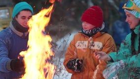 Familia del bosque del invierno que se sienta por el fuego y que fríe las salchichas almacen de video