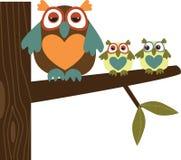 Familia del buho ilustración del vector