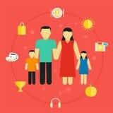 Familia del concepto con la pareja de los jóvenes de la forma de vida de los iconos con los niños Imagenes de archivo