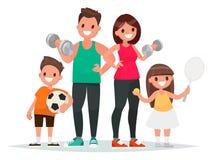 familia del deporte El papá, la madre, el hijo y la hija llevan lifes sanos ilustración del vector