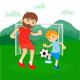 Familia del fútbol del hijo Fotografía de archivo