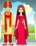 Familia del indio de la animación Foto de archivo libre de regalías