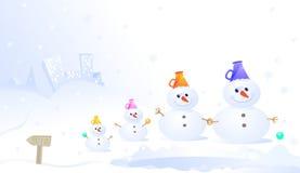 Familia del muñeco de nieve stock de ilustración