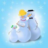 Familia del muñeco de nieve del invierno ilustración del vector