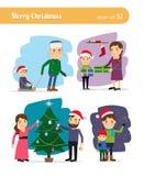 Familia del muñeco de nieve que consigue el árbol de navidad Fotos de archivo