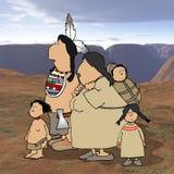 Familia del nativo americano con el fondo del desierto Fotografía de archivo libre de regalías