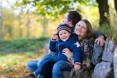 Familia del otoño Foto de archivo libre de regalías