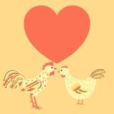 Familia del pollo alrededor de la tarjeta del corazón Fotos de archivo libres de regalías