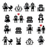 Familia del robot, hembra, iconos del robot del bebé fijados Fotos de archivo libres de regalías