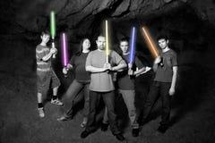 Familia del SciFi con las espadas ligeras Imagen de archivo libre de regalías
