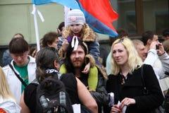 Familia desconocida de la oposición a la protesta Imagenes de archivo