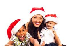 Familia divertida de la Navidad Foto de archivo