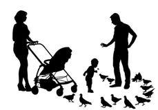 Familia en caminata stock de ilustración