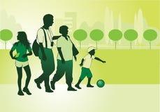 Familia en caminata ilustración del vector