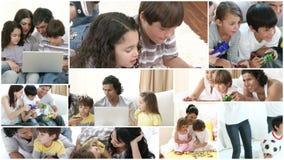 Familia en casa almacen de metraje de vídeo
