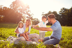 Familia en comida campestre en parque