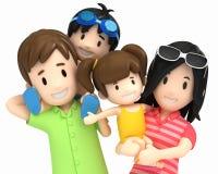 Familia en desgaste de la nadada stock de ilustración